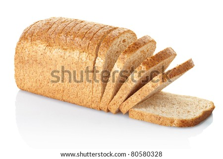Sliced brown bread isolated on white, clipping path included