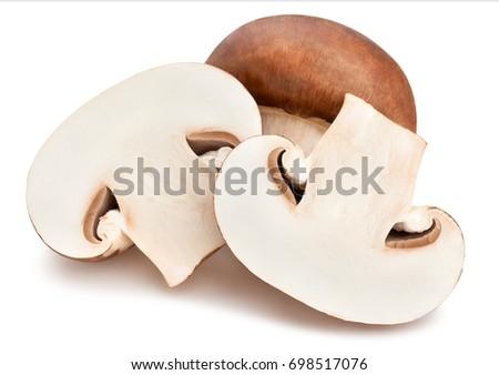 sliced brown mushrooms path isolated