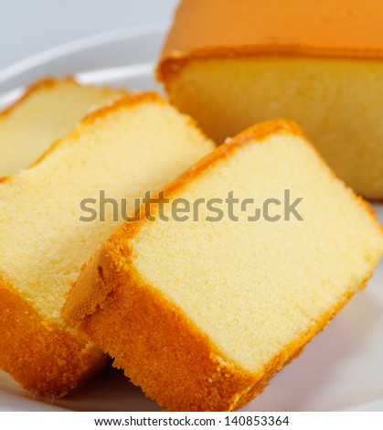 sliced butter cake on white plate