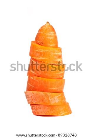 Sliced carrot column closeup