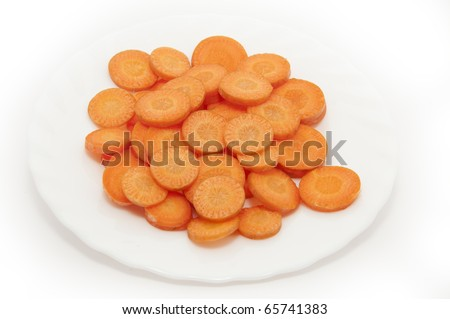 Sliced carrots in a white plate