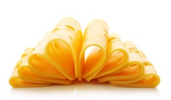 Sliced cheese isolated on white background