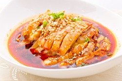 Sliced chicken in sesame chilli oil, Szechuan style cold dish