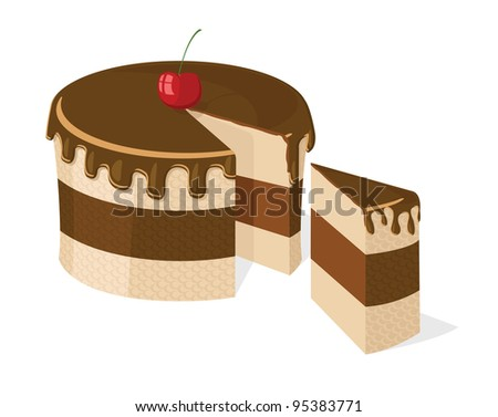 Sliced chocolate cake with delicious cherry for birthday, wedding, etc.