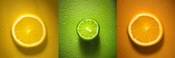 Sliced citrus fruit orange lemon and lime with water droplets creating texture - fresh and healthy food concept image