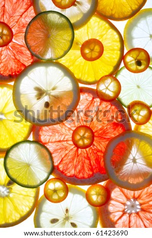 Sliced citrus fruits background