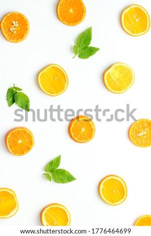 Sliced citrus orange pattern top view, copy space