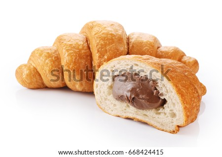 Sliced croissant with chocolate isolated on white background