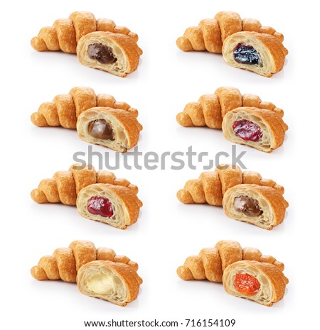 Sliced croissant with chocolate, jam, condensed milk and cream isolated on white background. Collection.