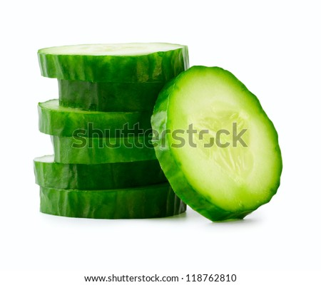 Sliced Cucumber in Stack isolated on white