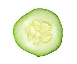 sliced cucumber isolated on white background