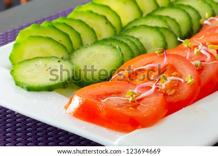 Sliced cucumbers and tomatoes on the plate