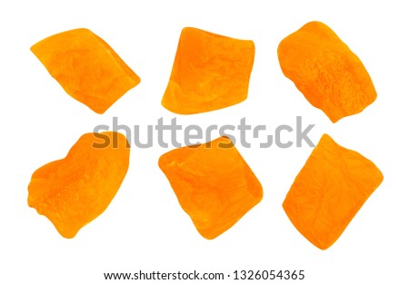 sliced dried apricot cubes path isolated #1326054365