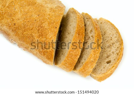 sliced fresh bread isolated on white