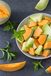 Sliced fresh  melons in the plate