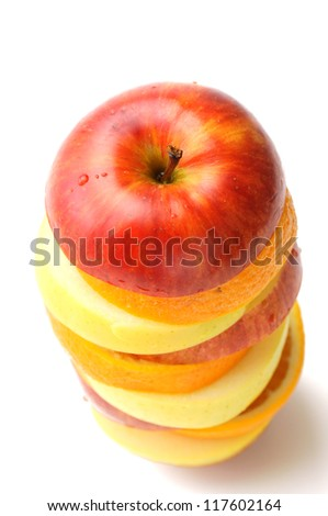 Sliced fruit sliced up on white background