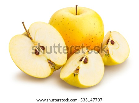 sliced golden delicious apples isolated