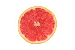 Sliced grapefruit isolated on white background. Fruit section