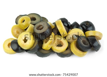 Sliced green and black olives  isolated on the white background