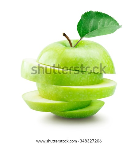 Sliced green apple over white background #348327206