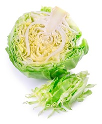 sliced green cabbage isolated on white. Vegetable half