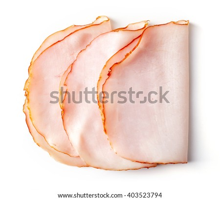 Sliced ham isolated on white background, top view #403523794