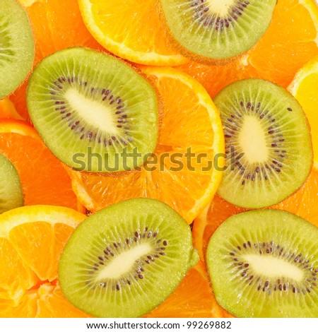 sliced Kiwi fruit and citrus Orange