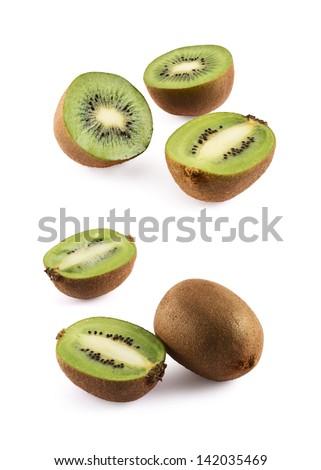 Sliced kiwifruit composition of kiwi isolated over white background, set of two foreshortenings