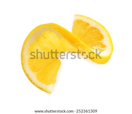 Sliced lemon isolated on white