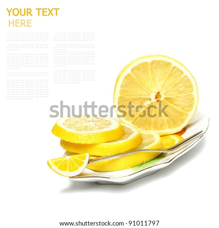 sliced, lemon on a plate on a white background (with sample text)