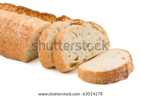 Sliced loaf of baquette bread isolated on white background.