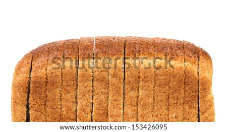 Sliced loaf of bread. Isolated on a white background.
