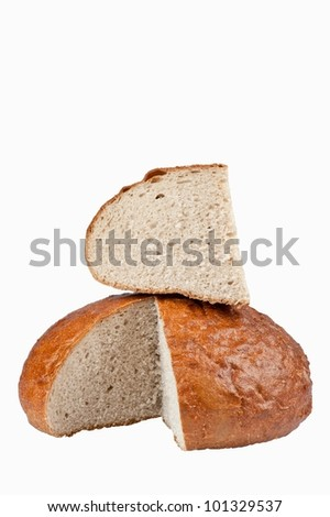 sliced ??loaf of brown bread - stock photo