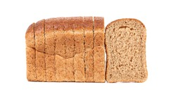 Sliced loaf of brown bread. Isolated on a white background