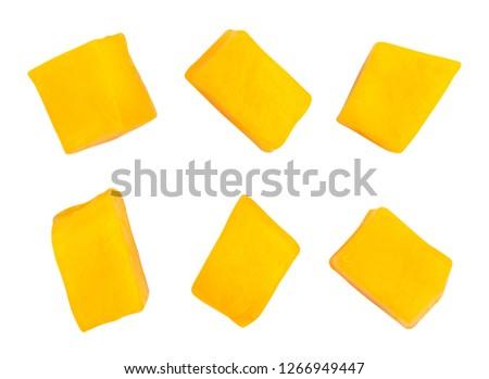 sliced mango chunks path isolated