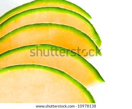 Sliced melon on plate, isolated on white background.