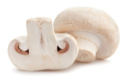 sliced mushrooms path isolated on white