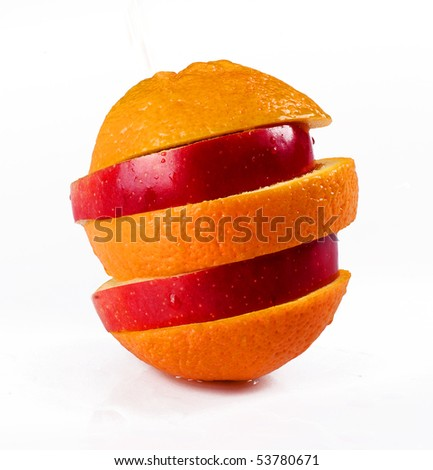 sliced of apple and orange isolated on white background