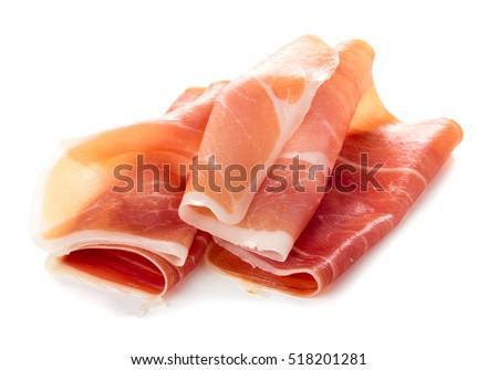 Shutterstock Sliced of jamon isolated on white background