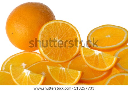 Sliced orange fruit isolated on white background