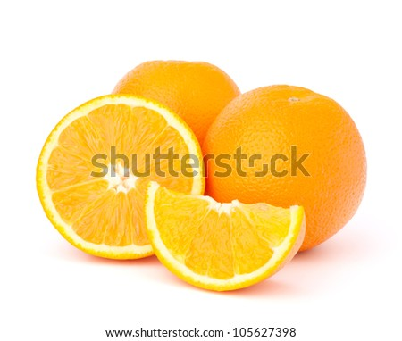 Sliced orange fruit segments  isolated on white background