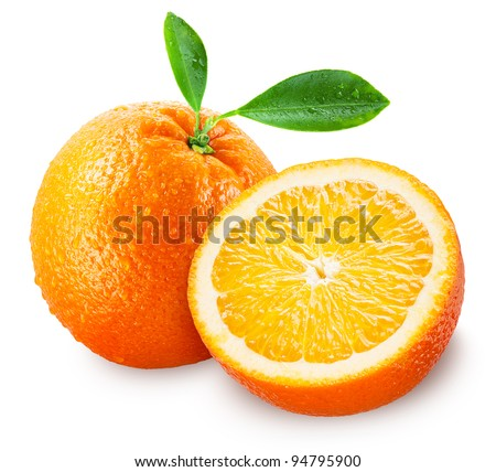 Sliced orange fruit with leaves isolated on white background + clipping path