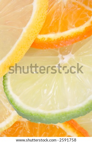 sliced orange, lemon, lime