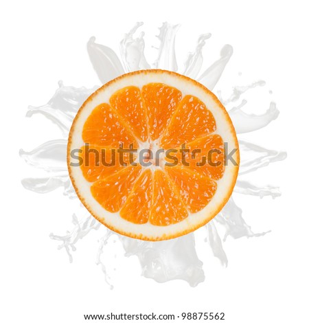 sliced orange splash with milk isolated on white background - stock photo