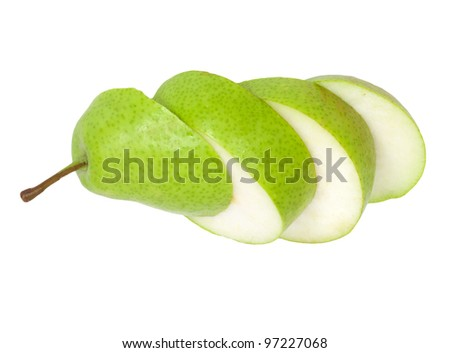 sliced ??pear isolated on white background - stock photo