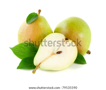 Sliced pears  with leaves