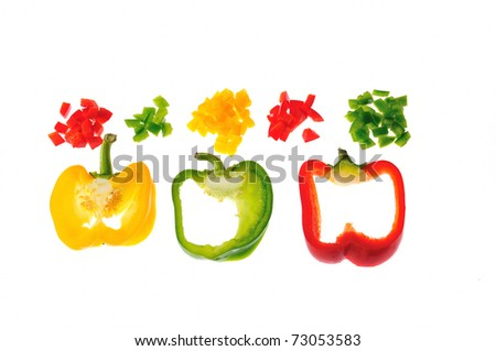 Sliced peppers isolated on white background.