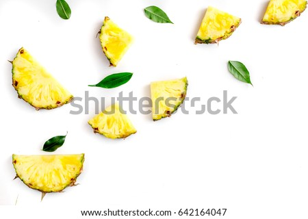 sliced pineapple in exotic summer fruit design white background top view mock-up ストックフォト ©