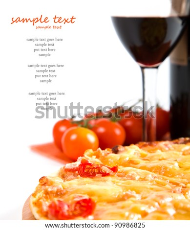 sliced pizza and glass of red wine