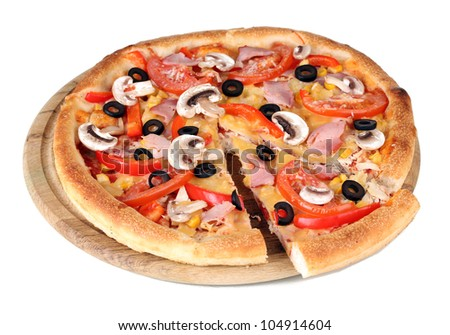 Sliced pizza close-up isolated on white